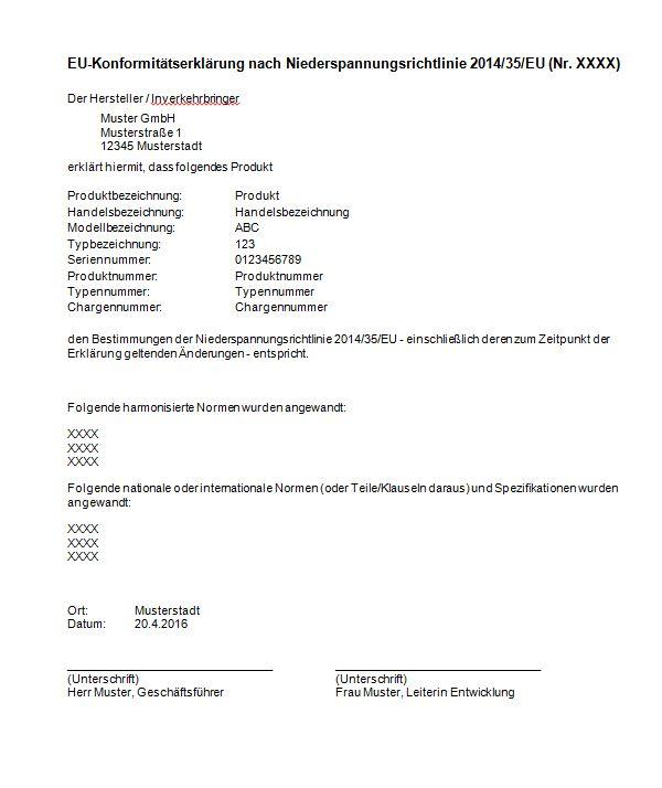 EU-Konformitätserklärung nach Niederspannungsrichtlinie 2014/35/EU
