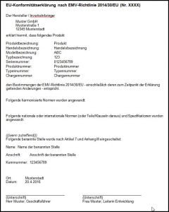 Muster EU Konformitätserklärung EMV-Richtlinie