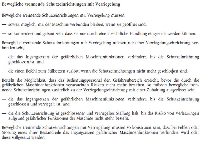 Abschnitt 1.4.2.2. der Maschinenrichtlinie 2006/42/EG