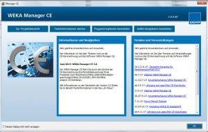 Das neue Startcockpit des WEKA Manager CE ab der Version 3.0