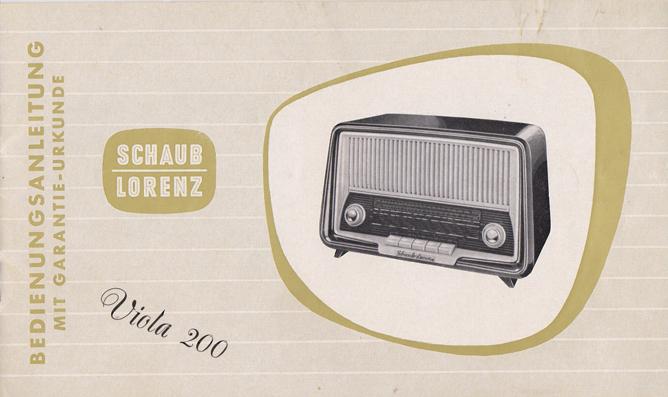 Bedienungsanleitung eines Rundfunkempfängers Ende der 1950er Jahre