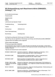 EG-Einbauerklärung nach Maschinenrichtlinie 2006/42/EG, Anhang II, 1. B