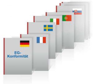 Die Konformitätserklärung muss in mindestens einer der 24 Amtssprachen der Europäischen Union vorliegen, ebenso in jeder Amtssprache des Landes, in dem die Maschine verwendet wird.