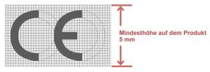 Die Grafik zeigt die offizielle Darstellung der CE-Kennzeichnung aus der europäischen Verordnung 765/2008.