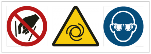 Sofern zum sicheren Bedienen notwendig, werden Maschinen mit Verbotszeichen, Warnzeichen und Gebotszeichen gekennzeichnet.