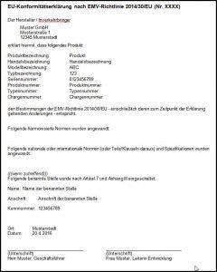 Muster einer EU-Konformitätserklärung nach EMV-Richtlinie 2014/30/EU