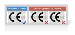 Gefälschte CE-Zeichen sind manchmal daran zu erkennen, dass der Mittelstrich des Buchstabens E zu lang ausfällt oder die Buchstaben zu eng stehen.