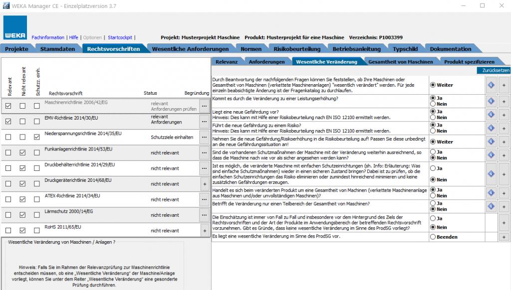Screenshot aus der Software WEKA Manager CE zur Prüfung, ob eine wesentliche Veränderung vorliegt.